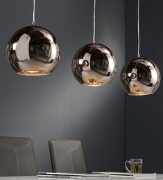 H ngelampe retro ball 3 kugeln kupfer in 2018 haus lighting kitchen lighting und light fixtures - Esszimmertisch lampe ...