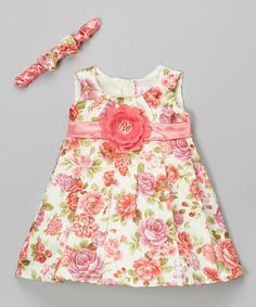 Love this Coral Floral Dress & Headband - Infant by Cinderella Couture on #zulily! #zulilyfinds
