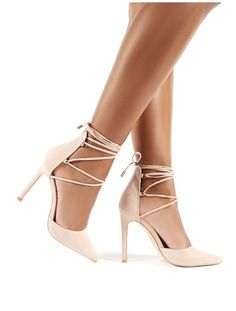 Classy Nude Suede Lace Up Court Heels - Classy features a lace up ankle strap with stiletto heel and pointed toe. Stilettos, Black Stiletto Heels, Pointed Heels, High Heels, Pumps Heels, Suede Heels, Gold Lace Up Heels, Formal Heels, Court Heels