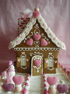 Pink Gingerbread House. Love, love making these every year!