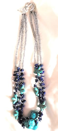 Glass bead necklace, handmade, wiring, DIY necklace, Swarovski elements