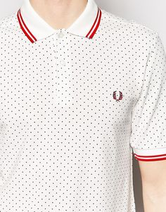 Image 3 of Fred Perry Polo Shirt with Polka Dot Print Slim Fit