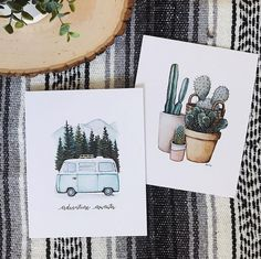 Adventure Awaits and Cactus print. VW bus in the mountains cacti Mexican blanket boho style adventurous artwork adventure awaits blue VW bus ca Cactus Drawing, Cactus Painting, Artist Painting, Watercolor Artwork, Watercolor Print, Watercolor Cacti, Painting Inspiration, Art Inspo, Cactus Print
