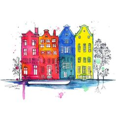 Whimsical original pen and watercolor illustration of Amsterdam, on strathmore watercolor paper. Pen And Watercolor, Watercolor Illustration, Watercolor Paintings, Travel Illustration, What's My Favorite Color, Guache, Urban Sketching, Painting & Drawing, Art Drawings