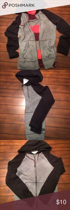 Full-Zip Two Tone Hoodie Full-Zip Gray & Black Hoodie w/ Red accented pull strings. Aeropostale Shirts Sweatshirts & Hoodies