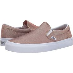 Vans Classic Slip-On ((Glitter Textile) Rose Gold/True White) Skate... ($43) ❤ liked on Polyvore featuring shoes, flats, brown, slip on skate shoes, slip-on shoes, brown boat shoes, white skate shoes and sperry top-sider shoes