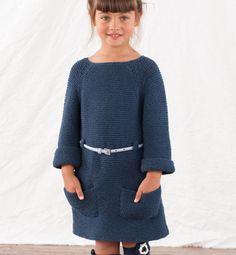 Modèle robe enfant au point mousse - Modèles tricot enfant - Phildar
