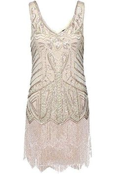 awesome Babeyond Women's Flapper Dresses V Neck Beaded Fringed Great Gatsby Dress (Small, Beige). Great Gatsby Outfits, Sparkly Prom Dresses, Pretty Dresses, Beaded Dresses, Fringe Flapper Dress, Flapper Dresses, Roaring 20s Dresses, 1920s Party Dresses, Evening Dresses