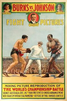 Jack Johnson vs. Tommy Burns fight film poster