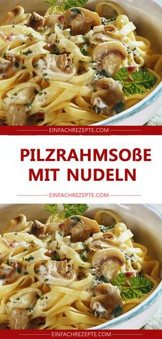 Ingredients 1 chicken breast fillet 1 onion 250 g mushrooms 250 ml cream salt Pf . - Ingredients 1 chicken breast fillet 1 onion 250 g mushrooms 250 ml cream salt pepper oil Side dish: - Sausage Recipes, Meat Recipes, Pasta Recipes, Cooking Recipes, Healthy Recipes, Mushroom Cream Sauces, Mushroom Recipes, Mushroom Pasta, Chicken Breast Fillet