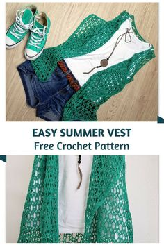 Crochet Vests Easy Crochet Summer Vest Pattern For The Young At Heart - This easy crochet summer vest pattern is so pretty and looks extremely comfortable. It's also very stylish worn over a T shirt with jeans and sneakers. Crochet Vest Pattern, Crochet Jacket, Crochet Cardigan, Crochet Patterns, Crochet Vests, Crochet Cape, Shawl Patterns, Kimono Pattern Free, Crochet Skirts