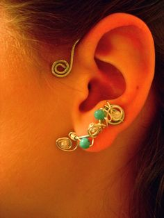 ear cuffs with turquoise and pearl beads $22.50
