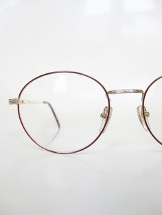 2dbcf0d99f4d Round Wire Rim Eyeglasses 1980s Womens Vintage Glasses Geek Chic Burgundy  Wine Dark Red Nerdy Frames Optical Rims Deadstock NOS