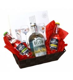Belgian Gin & Tonic with special tasty gin herbs Intregral Belgian Gin Tonic gift package with Gin, Tonic and special Gin spicesThis gift basket contains a dry Belgian Gin, two bottles of Tonic and a colorful mix of 16 individual little boxes filled with herbs specially made for Gin.