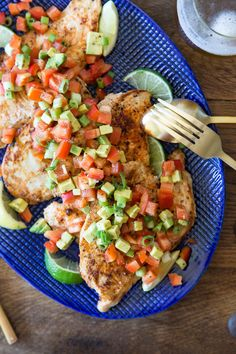 Paprika Grilled Chicken with Avocado Red Pepper Salsa - a super easy and delish weeknight meal!