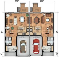 Asymmetrical Contemporary Duplex - 90254PD | 2nd Floor Master Suite, CAD Available, Canadian, Metric, Narrow Lot, Northwest, PDF | Architectural Designs