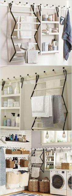 Suporte criativo para panos na lavanderia. Dicas de Como Organizar a Lavanderia