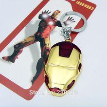 1PCS Homem De Ferro Vermelho Metal Máscara Chaveiro Chaveiro Anel Pingente Chaveiro Super Hero