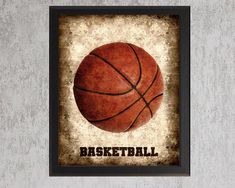 Basketball - 8x10 photo print - Type Poster Wall Art Textured Beige Tan Black Vintage Sports Dad Fathers Day Grad Nursery Decor on Etsy, $28.00
