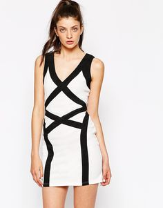 Image 1 of Daisy Street Body-Conscious Dress With Contrast Panels