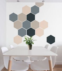 Blue, Navy, Pink & Beige Removable Honeycombs, Self Adhesive Geometric Wall Decal