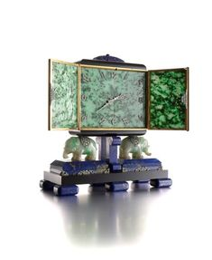 Lacloche. Art Deco Lapis Lazuli, Jade, and Diamond  Elephant Desk Clock by Verger Frères for Ostertag, Paris, 1929.