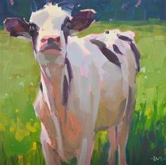 "Daily Paintworks - ""Whats Up Cow"" - Original Fine Art for Sale - © Carol Marine"