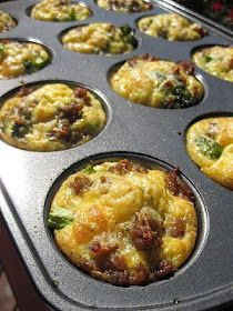 Could do this with Challenge-friendly ingredients. Great option for portion control! :)  12-muffin tin + 12 eggs + any veggies/sausage/bacon you like + bake at 375 for 20-25 mins and you've got breakfast for a whole week! I recommend putting them in muffin cups to cut down on clean up too - always a plus. Definitely will make this recipe again!