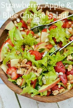 Delicious, refreshing Strawberry Apple and Blue Cheese salad which is ready in minutes ~ serve with any meat, poultry, seafood or pasta dish