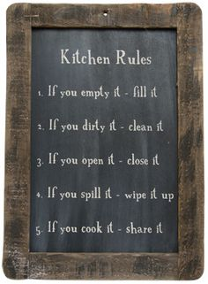 Kitchen Rules Chalkboard