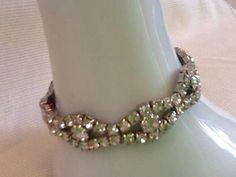 Vintage+childs+diamante+stretch+bracelet+clear+glass+claw+set+rhinestone+girls