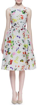 White Print Evening Dress by Oscar de la Renta. Buy for $2,033 from Neiman Marcus