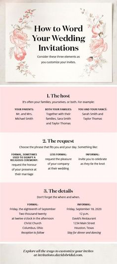 Wedding Quotes : Wondering how to word your wedding invitations? Consider who's hosting and how Wedding Quotes : Picture Description Wondering how to word your wedding invitations? Consider who's hosting and how formal your celebration will be. See Wedding Planning Tips, Wedding Tips, Diy Wedding, Wedding Ceremony, Dream Wedding, Wedding Day, Wedding Themes, Quirky Wedding, Wedding Planner