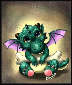 Dragon Hatchling Egg Baby Babies Cute Funny Humor Fantasy Myth Mythical Mystical Legend Dragons Wings Sword Sorcery Magic Art Fairy Maiden Whimsy