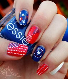 Although this manicure was inspired by Captain America, we like to think he'd be okay with it celebrating America's birthday.