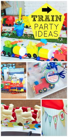 A colorful train boy birthday party with a train cake, cookies and lollipops!  See more party ideas at CatchMyParty.com!