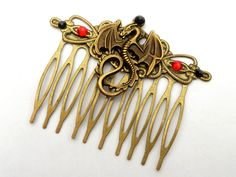 Fantasy hair comb with dragon in black silver LARP Medieval China - pinned by pin4etsy.com