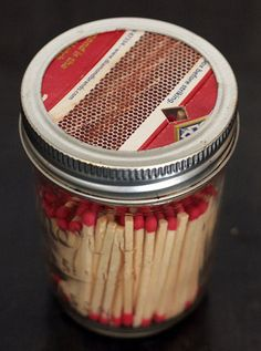 Mason Jar Match Dispenser keeps all the matches from coming out of the box in your bag - can also just cut a circle of medium/fine grit sandpaper for the top.