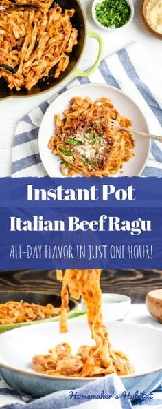 This Instant Pot Beef Ragu is like a mashup of Italian bolognese sauce and beef stroganoff. Served over pasta this sauce is hearty, rich and totally satisfying.