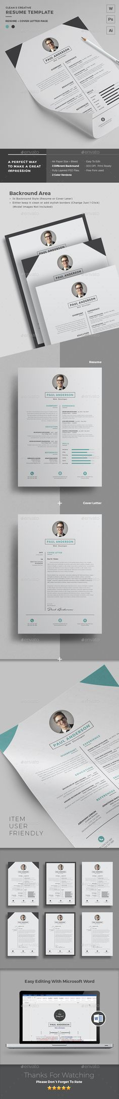 Resume Template no 6 \/\/ Instant Download \/\/ Creative \/\/ Microsoft - resume microsoft