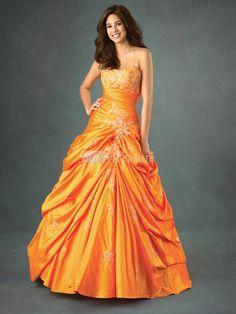 Orange Puffy Prom Dresses