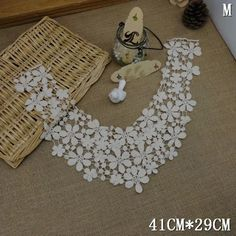 2pcs Lace Collar Beige Flower Embroidery Neckline Costume Decor Sewing Applique Craft Collar Lace Trim ** You can get additional details at the image link.
