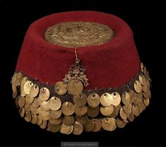Turkish Festive 'fes' (hat) for women, in Central Anatolian style. The tepelik (hat cover) with its old coins Late Ottoman Era - Women-Dress Jli Kurdi, Hats For Women, Clothes For Women, Turkish Fashion, Old Coins, Tribal Fusion, Historical Costume, Muslim Women, Fashion History