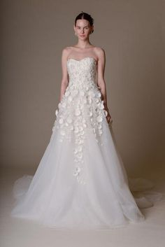 Marchesa strapless wedding dress with 3-D flower details