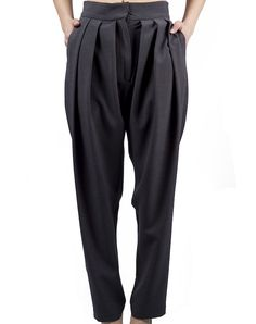 Draped Trousers - Oxford Gray $109.00  Draped pants in oxford gray, with high waist and long shot. Made from 100% polyester.