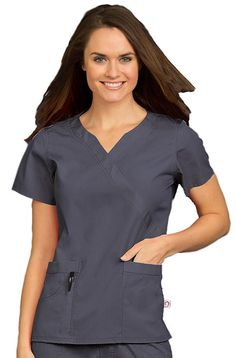 Mock wrap scrub top from the Comfort Collection by Peaches Uniforms made of an enzyme-washed poly/cotton blend for comfort and easy care