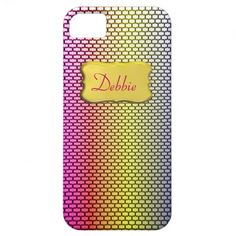 Pretty Rainbow Patterned Personalized iPhone Cases.  A pretty Rainbow colored pattern, so easy to personalize with a name or monogram..