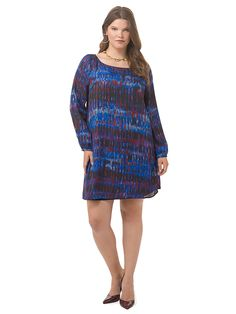 Florence Abstract Shift Dress by @bbdakota   Available in sizes 1X-3X