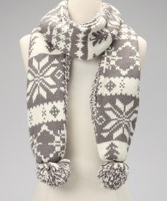 Take a look at this Gray & Ivory Classic Reversible Scarf - Women by MUK LUKS on #zulily today!