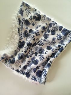 Navy floral lovey white Floral lovey security by DwellDarling